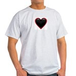 Black Glossy Heart Anti Valentine Light T-Shirt