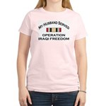 My Husband Served OIF Ribbon Medal Women's Light T