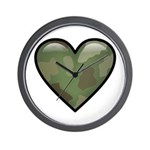Love Military Cammo Heart Wall Clock