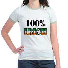 100 Percent Irish T-Shirts Jr. Ringer T-Shirt