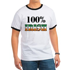 100 Percent Irish T-Shirts Ringer T