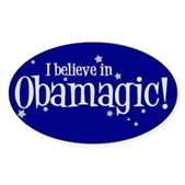 I Believe in Obamagic Oval Sticker