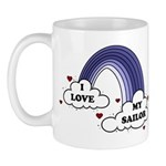 I Love My Sailor Navy Rainbow Mug