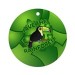 Save the Rainforest Ornament (Round)
