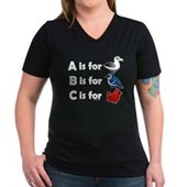 B is for Birdorable Women's V-Neck Dark T-Shirt