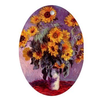 Sunflowers by Monet Oval Ornament