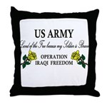 US Army OIF My soldier is brave Throw Pillow