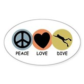 Peace Love Dive Oval Sticker