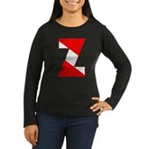 Scuba Flag Letter Z Women's Long Sleeve Dark T-Shi