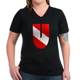 Scuba Flag Letter U Women's V-Neck Dark T-Shirt