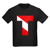 Scuba Flag Letter T Kids Dark T-Shirt