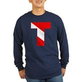 Scuba Flag Letter T Long Sleeve Dark T-Shirt