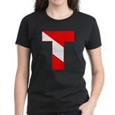 Scuba Flag Letter T Women's Dark T-Shirt
