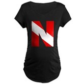 Scuba Flag Letter N Maternity Dark T-Shirt