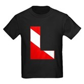 Scuba Flag Letter L Kids Dark T-Shirt