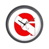 Scuba Flag Letter G Wall Clock