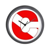 Scuba Flag Letter C Wall Clock