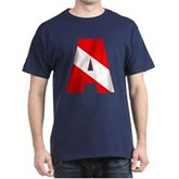 Scuba Flag Letter A Dark T-Shirt