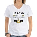 US Army Grandsons Defending Women's V-Neck T-Shirt