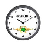 Firefighter Shamrock Wall Clock