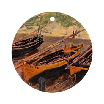 Fishing Boats by Monet Round Ornament