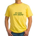 25% Irish 100% Wasted Yellow T-Shirt