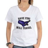 Have Fins Will Travel Women's V-Neck T-Shirt