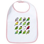 16 Birdorable Parrots Bib