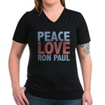 Peace Love Ron Paul Women's V-Neck Dark T-Shirt