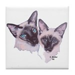 Siamese - 2 (white background) Tile Coaster