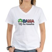 Obama 1up for America Women's V-Neck T-Shirt