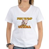 Fist Bump for Obama Women's V-Neck T-Shirt