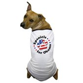 This great Spaniels for Obama dog t-shirt lets your dog show support for Barack Obama! A paw print is filled in w/ stars & stripes. A great Obama dog t-shirt for patriotic Democratic pooches!