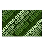 This repeated design in shades of green shows the name Obama stacked in diagonal lines. This abstract pro-Obama design ranges from light green to evergreen. Support Obama in 08 w/ this stylish design.