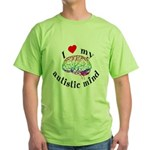 I Heart My Autistic Mind Green T-Shirt