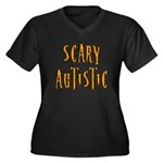 Scary Autistic Women's Plus Size V-Neck Dark T-Shi