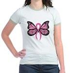 Breast Cancer Butterfly Jr. Ringer T-Shirt