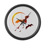 Flying Vampire Bats Large Wall Clock