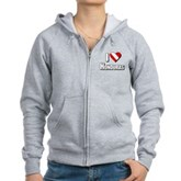 Scuba: I Love Honduras Women's Zip Hoodie