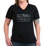 Cat Tag Cloud Women's V-Neck Dark T-Shirt