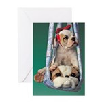 Swinging Bulldog Puppy Greeting Cards