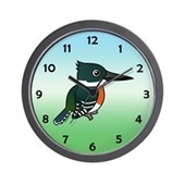Green Kingfisher Wall Clock