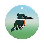 Green Kingfisher Ornament (Round)
