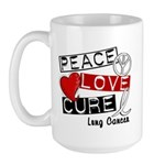 PEACE LOVE CURE Lung Cancer Large Mug
