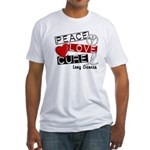 PEACE LOVE CURE Lung Cancer Fitted T-Shirt