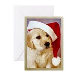 Santa Golden Retriever Puppy Christmas Cards