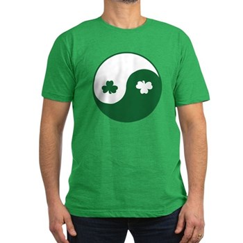 Irish Yin Yang Shamrocks Men's Fitted T-Shirt (dar