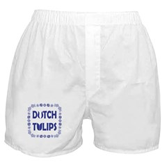 Dutch Tulips Delft Blue Style Boxer Shorts