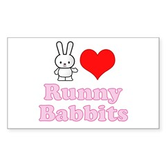 I Love Runny Babbits Sticker (Rectangle)