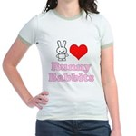 I Love Runny Babbits Jr. Ringer T-Shirt